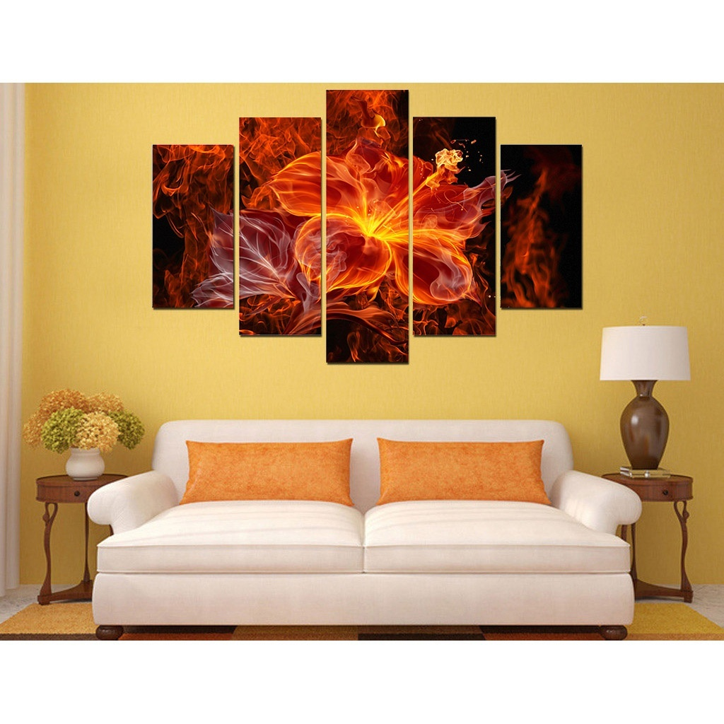 Free shipping 2017 New Style Frameless painting Flame flower canvas ...