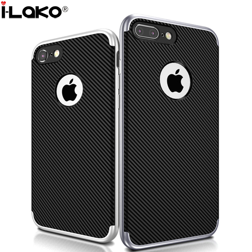 bilder für 30 teile/los Für iPhone SE 5 S 6 S Plus Kohlefaser Fall 2 in 1 Hybrid Ultra Thin PC Rahmen Silikon Fall Für iPhone 7 7 Plus