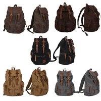 New Outdoor Sports Canvas Leather Satchel School Military Shoulder Bag Backpack Waterproof Bag Packs For Men