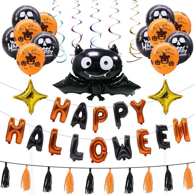 1set Happy Halloween Foil Balloons Bat Pumpkin Skull Globos Latex with Letters Air Balls Halloween Party Festival Decoration