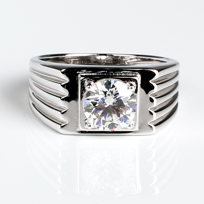 2ct Lab Created Diamante Ring for Men 925 Sterling Silver Wedding Jewelry 8mm Stone R516D