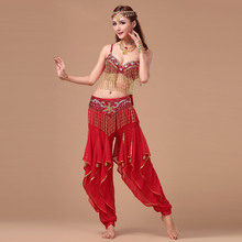 Belly Dance Costumes New Belly Dance Set bra belt pants Bead 3 Pieces Rotary Grape Tassel