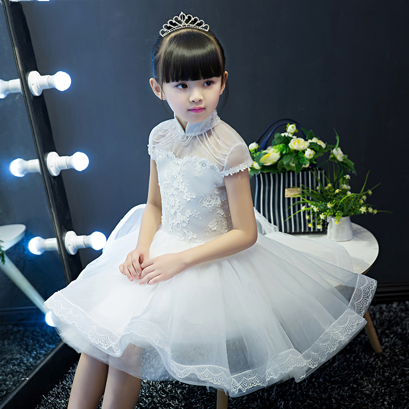 Luxury Knee Length Princess Baby Girls Dress Summer 2017 Elegant Flower Girls For Wedding And Prom Party Kid Dress For Girls P24