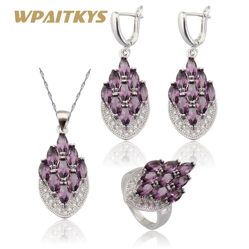 Ezüst színű ékszerkészletek nőknek lila köbös cirkóniás fehér CZ nyaklánc medál fülbevalók gyűrűkkel ingyenes díszdobozban WPAITKYS