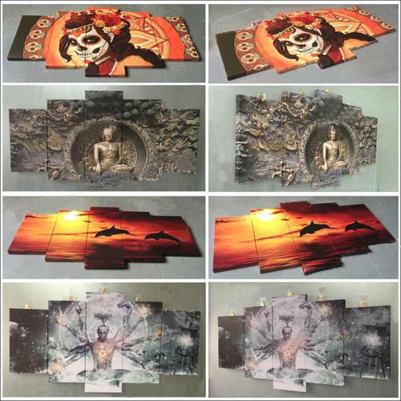 壁アートポスター現代キャンバスプリント絵画寝室5ピース誕生クリスチャンイエスモジュラー額縁家の装飾リビングルーム