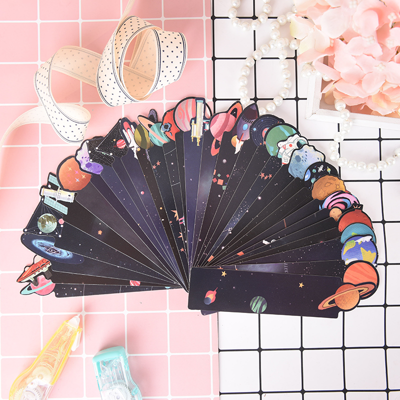 30Pcs/box Little Galaxy Space Starry Bookmarks Kids School Marcapaginas Bookmark Gift Supplies