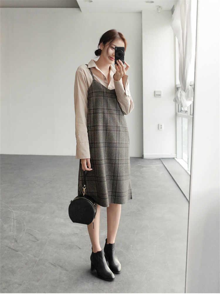 S XL весеннее платье femme повседневное Boho OL повседневное без рукавов клетчатое женское платье с v-образным вырезом в сеточку на подтяжках robe Femme Vestido