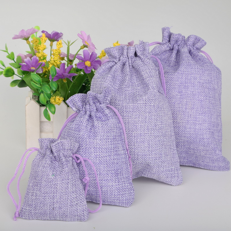 5pcs Linen Cotton Drawstring Gift Pouch Bag 7x9/10x14/13x18/15x20cm Lavender Green Natural Color Adjustable Jewelry Packing Bags