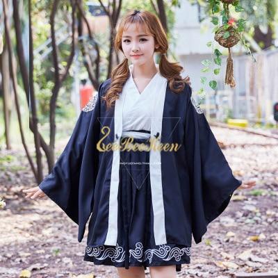 Vintage Japanese Harajuku Style Kimono For Girls Print Cardigan Long/short sleeve Blouse Waves Dress Cosplay Costume For Women