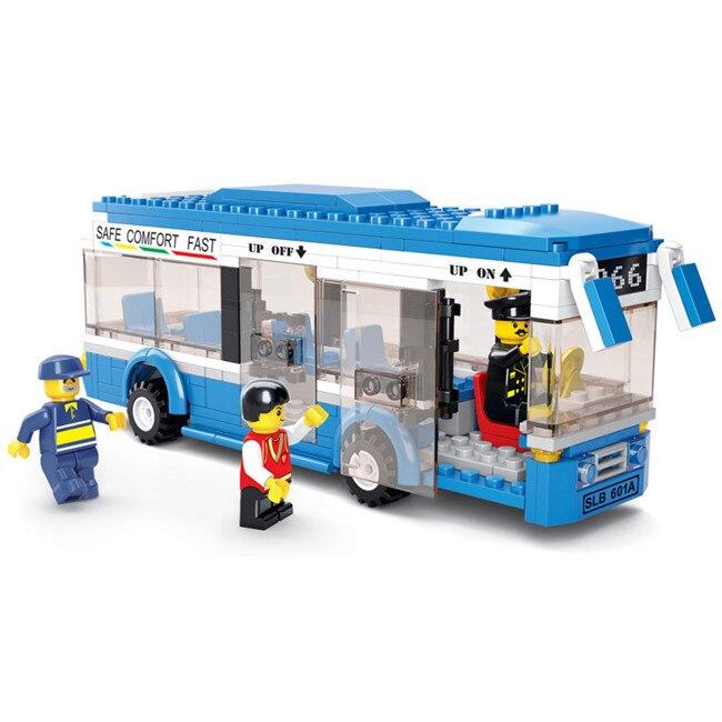 2016 New Sluban City Bus Building Blocks 235pcs/set DIY Enlighten Christmas Gift Bricks Toys Compatible Legoe city