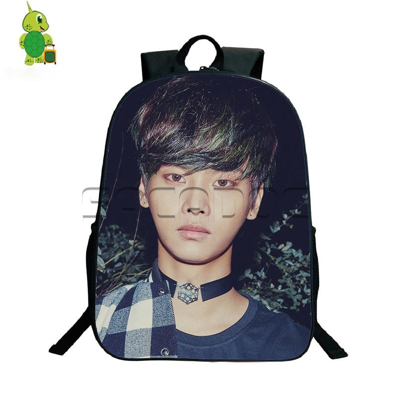 Kpop Vixx Zelos Printing Backpack Teens Students School Bags Hip Hop Idol Leo N Printing Laptop Backpack Boys Girls School Bags