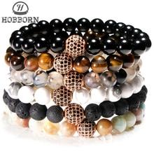 HOBBORN Trendy Natural Stone Women Bracelet Lava Tiger Eye Amazone Beads Micro-inlaid Zircon Ball Charm Unisex Bracelets Jewelry