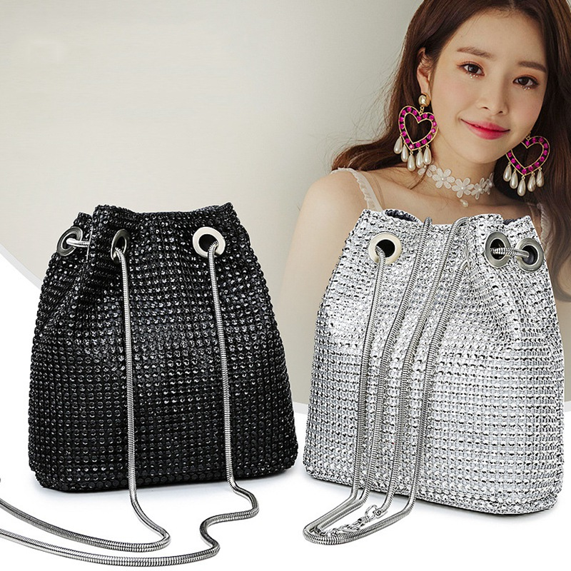 ABDB-Rhinestone Inlaid Flash Bucket Clutch Bag For Evening Party Fashion Banquet Fashion Shoulder Storage Totes Bags For Women