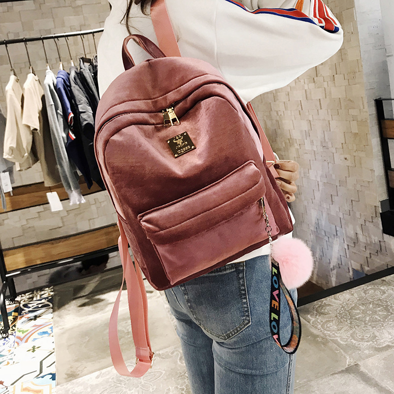 Fashion Backpack Soft Velvet Backpack Female Women Travel Backpacks School Bags Pack For Teenager Girls Sac A Dos Femme fashion women backpack black soft leather backpacks female school shoulder bags for teenage girls travel back pack sac a dos