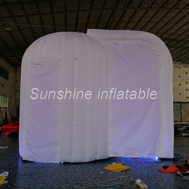 Hot sale 2 doors portable colorful LED inflatable photo booth enclosure small inflatable dome igloo tent & Hot sale 2 doors portable colorful LED inflatable photo booth ...