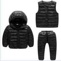 Children Set Boys Girls Clothing Sets Winter Hooded Down Jackets Pants Waterproof Thick Warm Tracksuts Kids Clothing Tracksuit