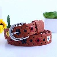 Ladies belt belt new children's children belt Korean flowers butterfly hollow children casual pin buckle belt