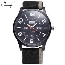 Chaxigo Marca 2016 Dos Homens Novos Relógios Com Pulseira de Couro de Pano de Quartzo Movt Data horloges mannen Calendário Casual Estilo Moda