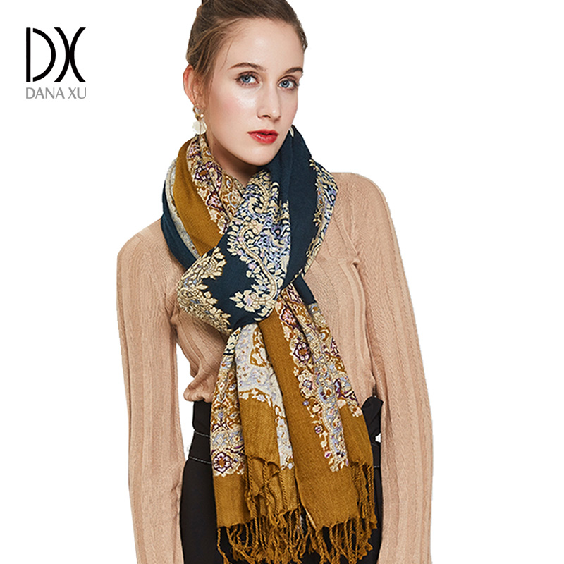 Fashion Scarves and Shawl Women Brand Scarf Pashmina Shawls and Wraps Cashmere Wool Hijab for Girls Winter Cape Poncho Muslim