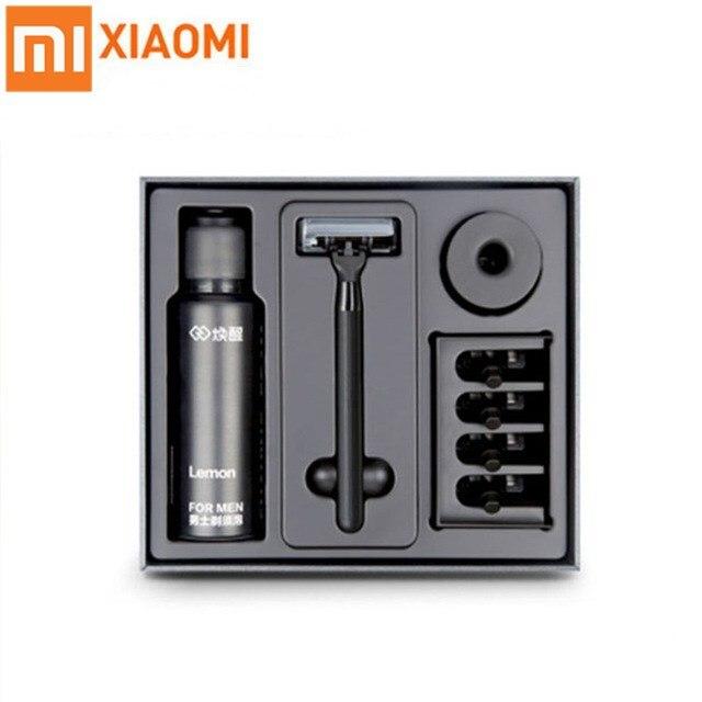 Original xiao mi Huanxin 3in1 A ensembles hommes rasoir citron saveur 7 en 1 ensembles 4 tête de rasoir magnétique remplacer Clip meilleur cadeau pour homme