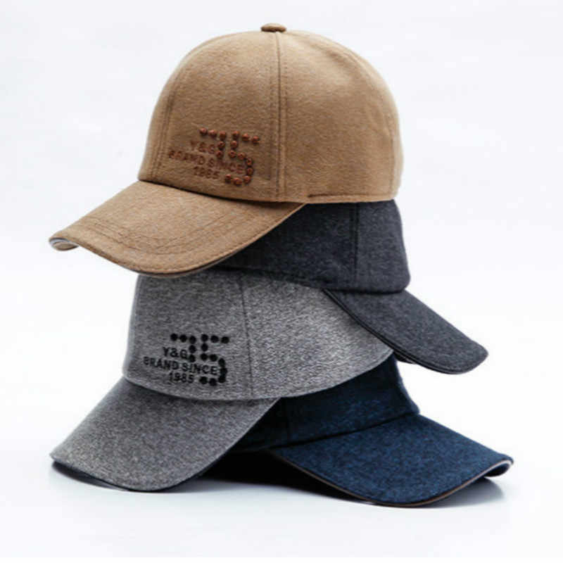 83a6dbe40ef42 ... Brand Winter Snapback Hat With Earflap Thickened Warm Wool Baseball Cap  Casual Woolen Vintage Trucker Hat