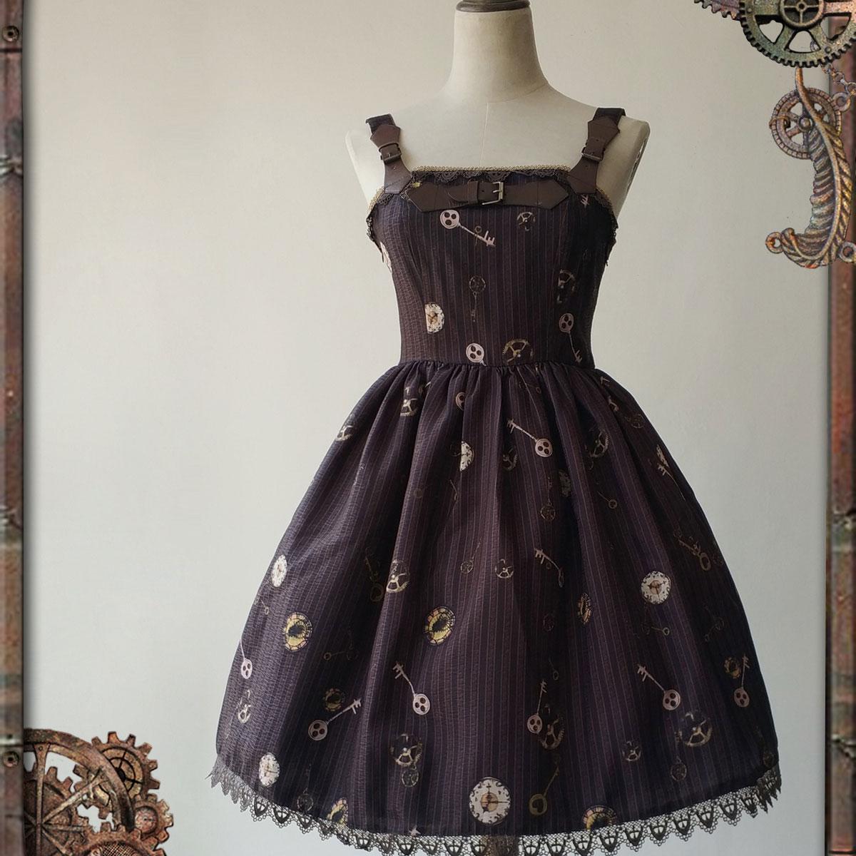 Steampunk Style Female Mini Dress Mechanical Doll Series Gear Printed JSK Dress *Pre-order*