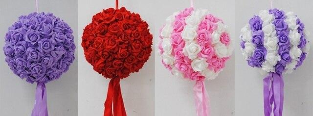 8pcs/lot) 11\'\' (28cm ) Artifiical Kissing Foam Rose Flower Ball ...
