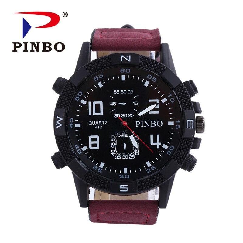 2016 Herrenuhren Pinbo Marke Luxus Casual Militär Quarz Sport Armbanduhr Lederband Männlichen Uhr Uhr Relogio Masculino