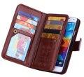 Capa de couro Galaxy S5, luxo Retro caso do plutônio para carteira de bolso estilo saco telefone Flip com 9 Slot para cartão bolsa