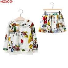 Brand New Girls Graffiti Clothes Set Children Cartoon Baby Girl Fashion Sport Suit Toddler Girls Zipper