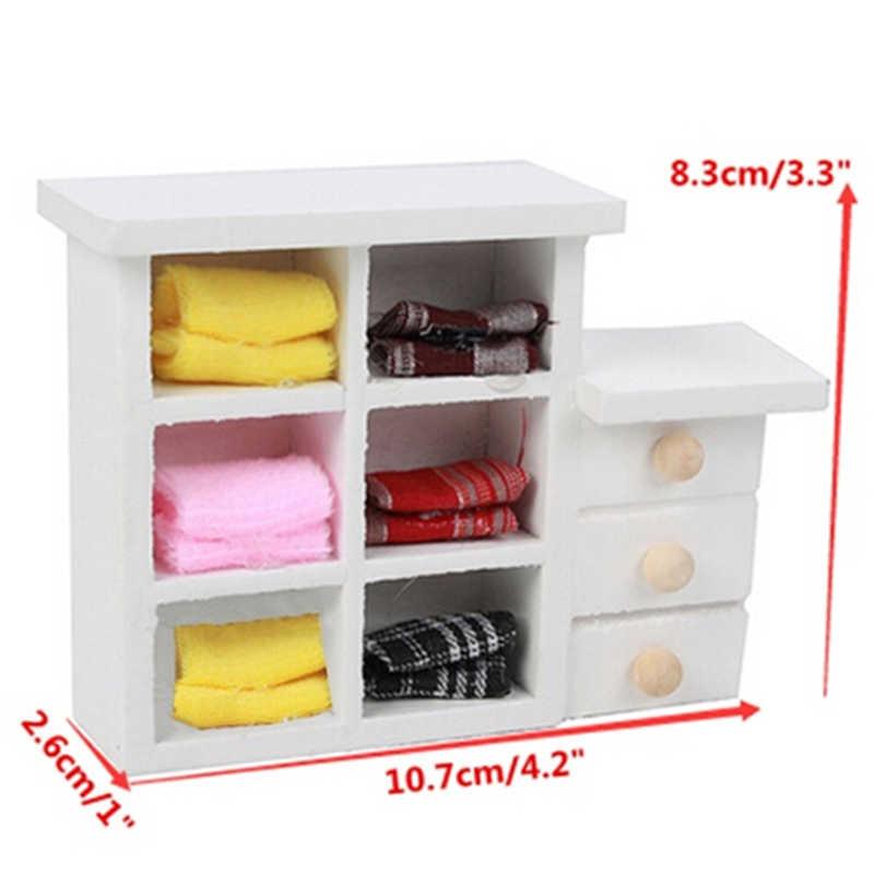 Casa de muñecas en miniatura armario Blanco/pecho/estantería/platos/horno microondas/mecedora/costura/estatua de Venus/Piano/estante de pared