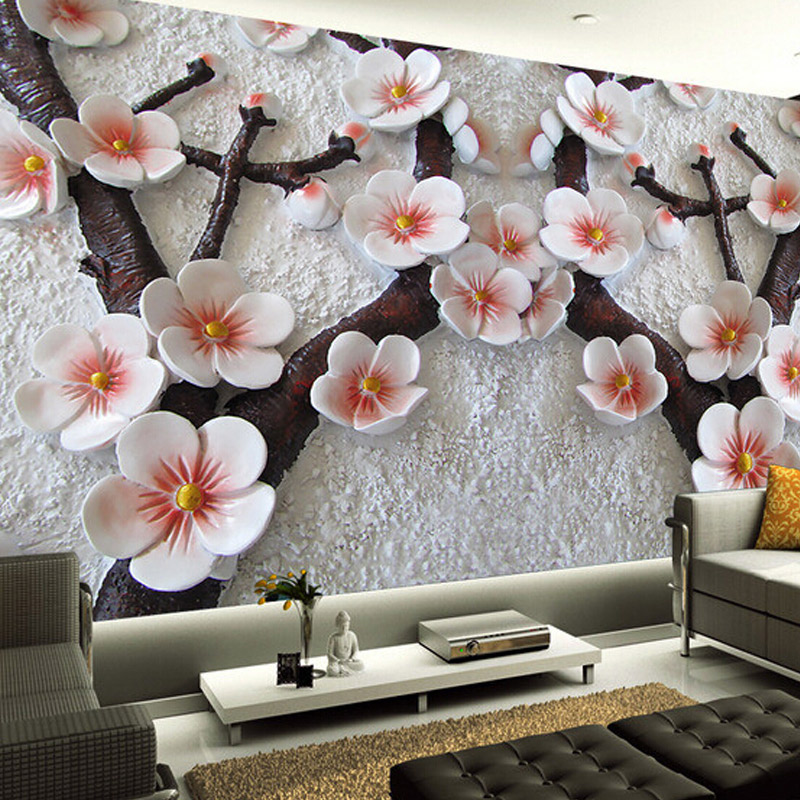 High Quality Custom Wall Mural Modern Art Wall Painting 3D Stereo Relief Plum Flower Photo Wallpaper Living Room Papel De Parede custom large modern mural painting three dimensional relief flower 3d tv setting wall wallpaper