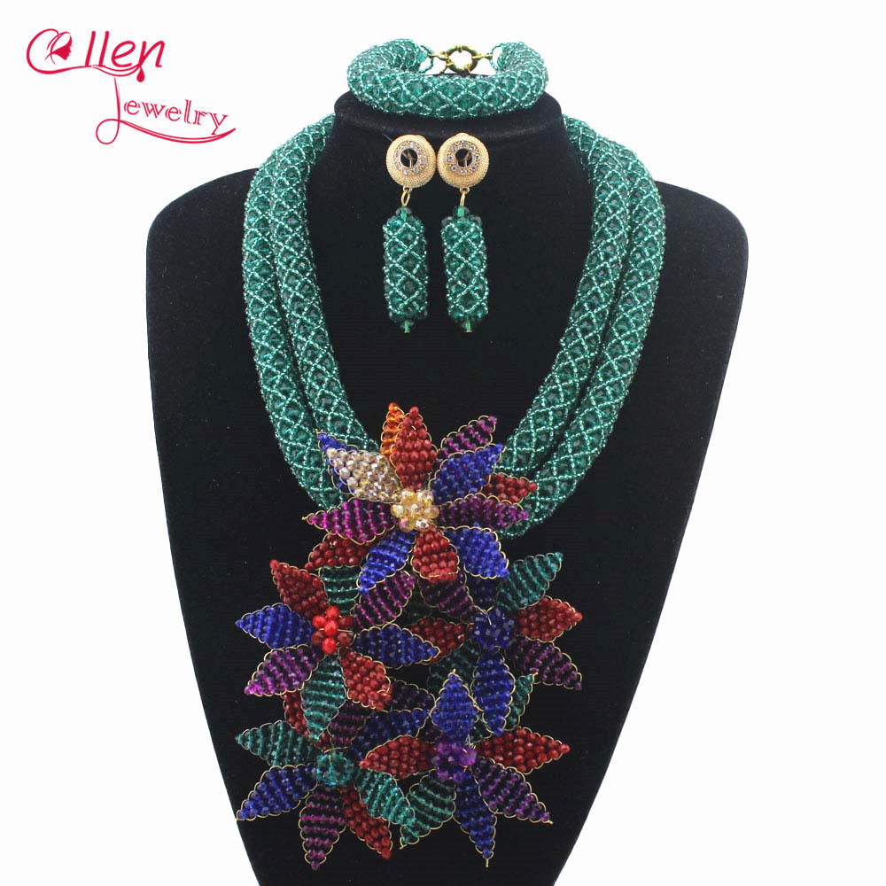 2019 Latest Nigerian Wedding bridal beads Crystal Beads Necklaces African Beads Jewelry Set Costume necklace Set  W128942019 Latest Nigerian Wedding bridal beads Crystal Beads Necklaces African Beads Jewelry Set Costume necklace Set  W12894