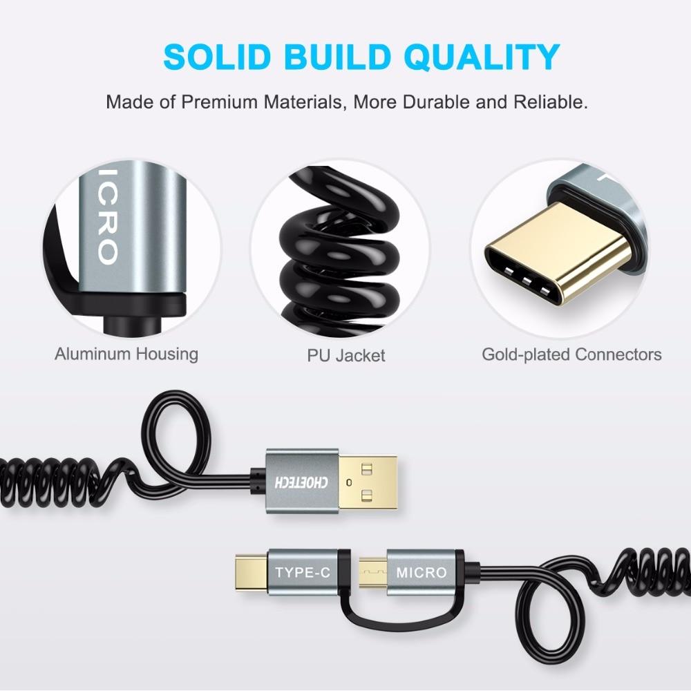 CHOETECH QC3.0 Kabel USB typu C do Samsung Galaxy Note 9 S9 3A Kabel - Części i akcesoria do telefonów komórkowych i smartfonów - Zdjęcie 6