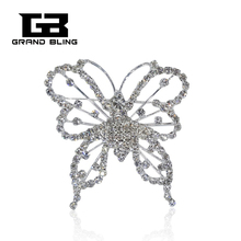 2017 Grandbling New arrival Fashion Jewelry Rhinestone Crystal Butterfly Brooch for Suit Decoration