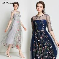 Women Long Dress Splicing Pleated Tulle Female Dresses Fashion Embroidered Floral Sexy Transparent Vestidos Navy Blue Gray M XL