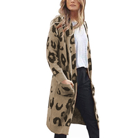 Womens Cardigans Ladies Coat Winter Long Sleeve Casual Fashion Animal Print Sweaters Open Front