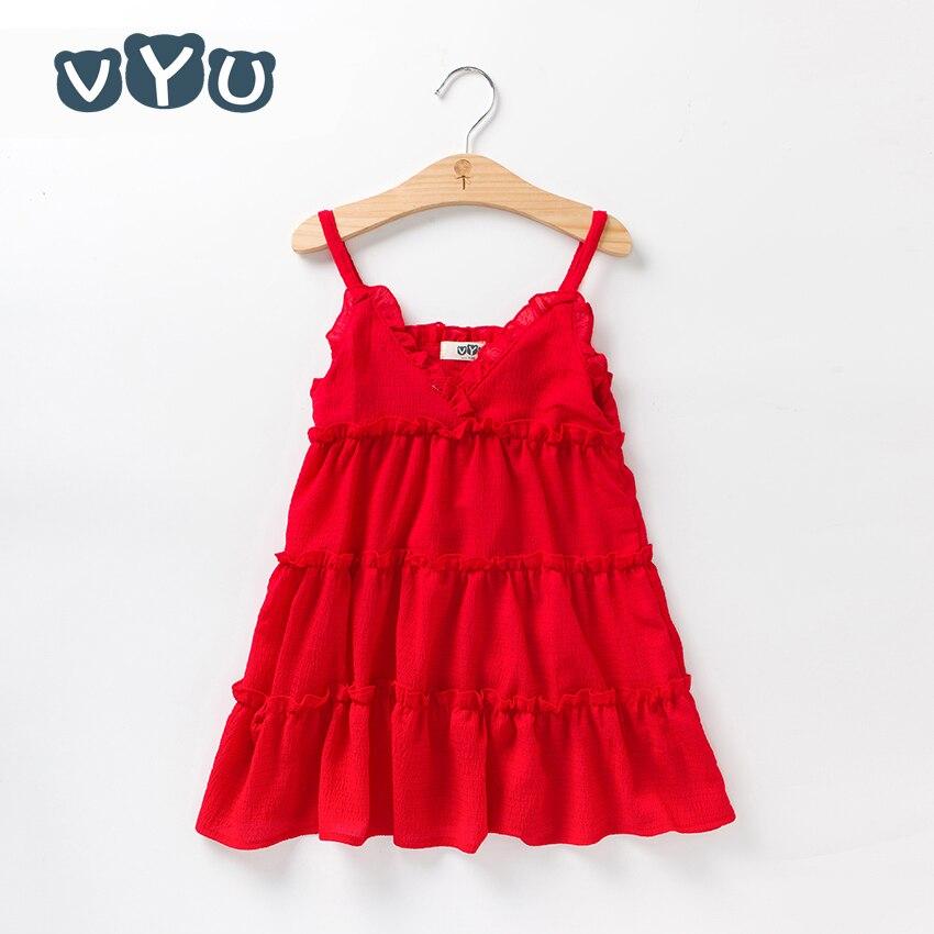 VYU Vestido rojo de verano para niñas Vestido bonito de gasa para - Ropa de ninos