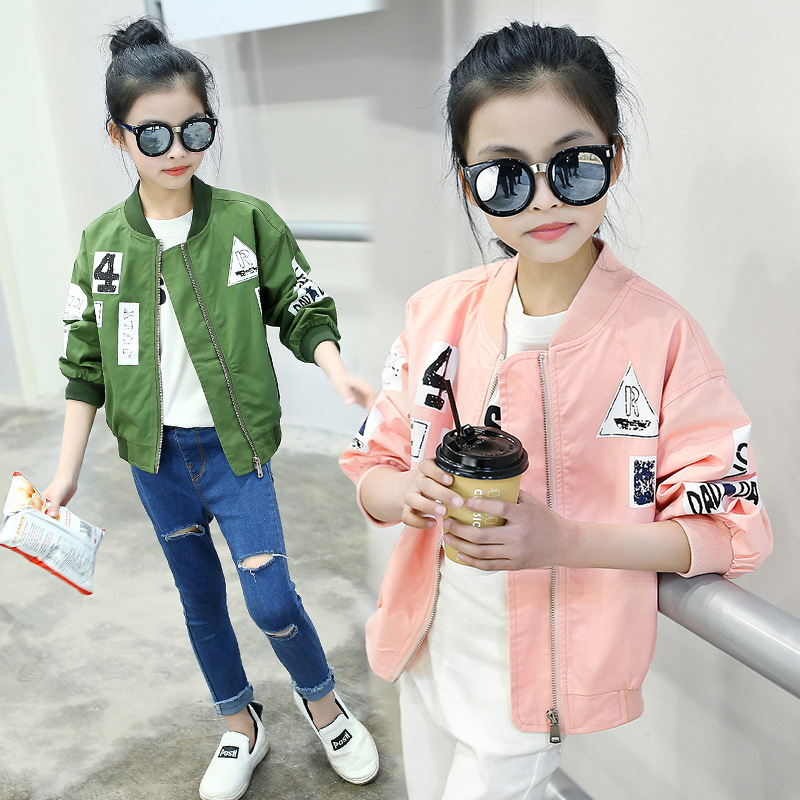 WEIXU 2018 Spring Autumn Bomber Jackets Coats for Girls Pink Green Childrens Zipper Windbreaker Outwear Clothes for 3-14 Years
