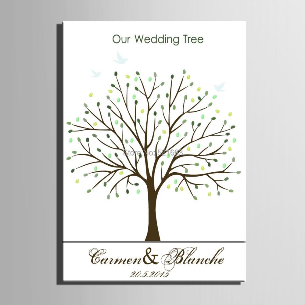 Prstni odtis drevo podpis platno poslikava zelena drevesa poročno - Prazniki in zabave - Fotografija 3