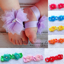 Retail 1set 16color Baby Toddler girls Mini Tull Mesh Pearl Flowers footwear Sandals barefoot shoes photo