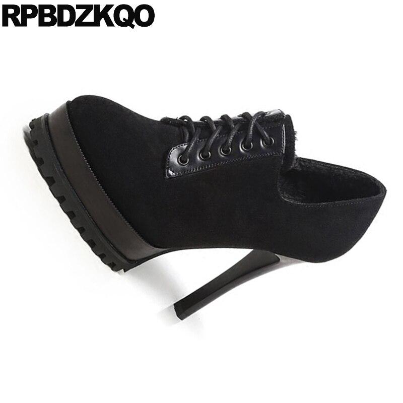 4 Bureau 34 Dames Stiletto Sexy Bandoulière Élégant Femmes Mode En Automne Taille Noir Classique Lined Plate Pompes 2017 forme Daim Fur Chaussures De black xFqIpwC