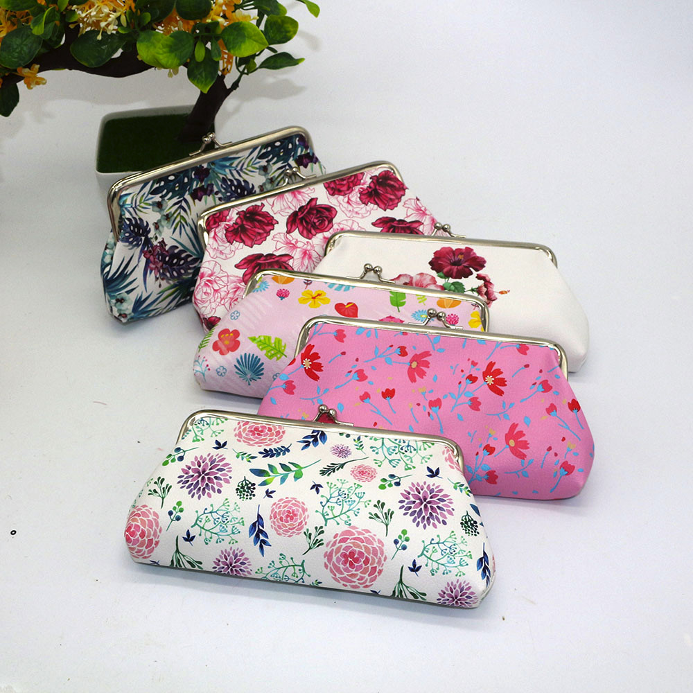 Women  Retro Vintage Leather Mini Wallet Lady Printing Flower Hasp Clutch Bag Small Coin Purse porte monnaie femme
