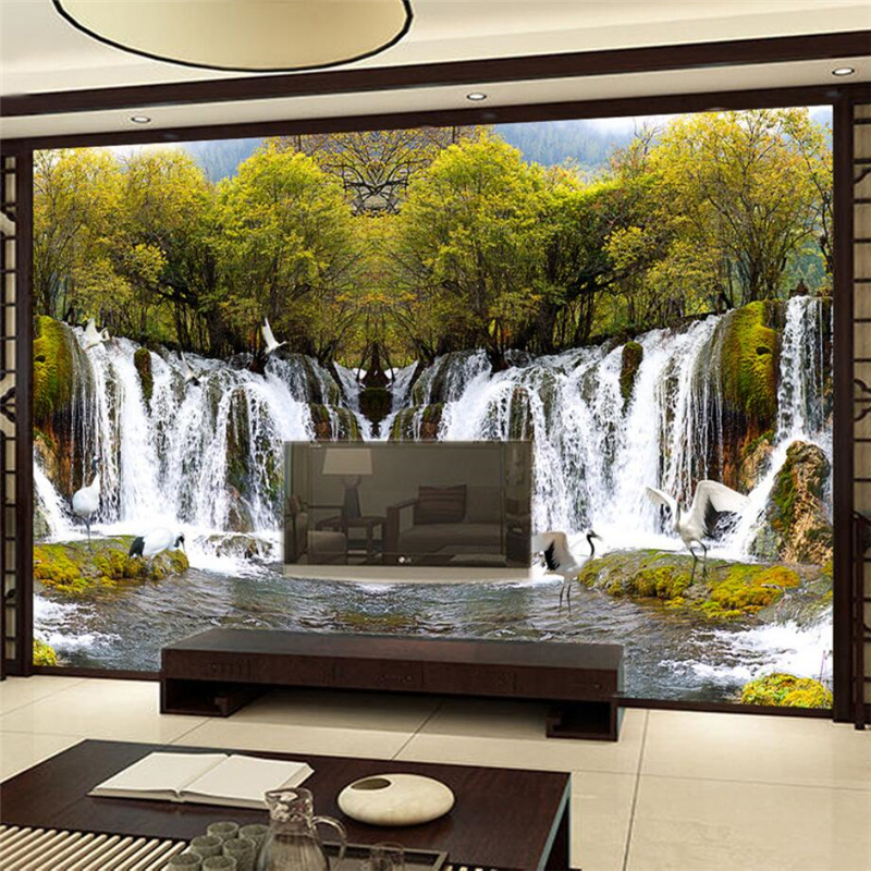 wall waterfall bedroom tv landscape beibehang decoration living background custom
