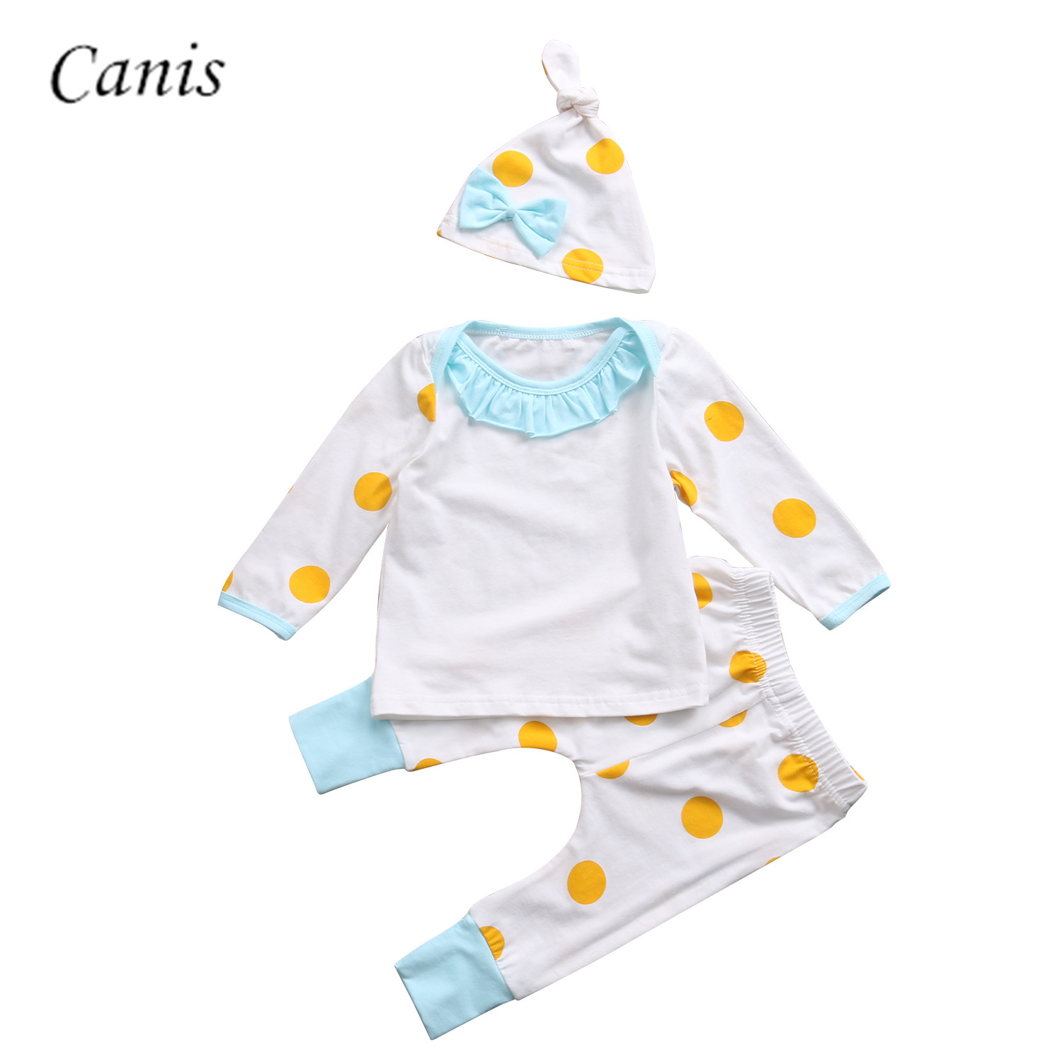 3PCS Set Newborn Infant Baby Girls Boy Yellow Dot Clothes Set T