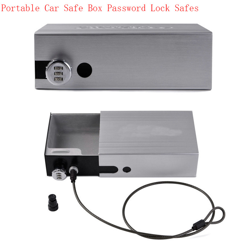 NewPortable Car Safe Box Password Lock Safes Jewelry Cash Pistol Storage Boxes Aluminum Alloy Security Strongbox Wire Rope Fixed