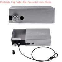 NewPortable Car Safe Box Password Lock Safes Jewelry Cash Pistol Storage Boxes Aluminum Alloy Security Strongbox