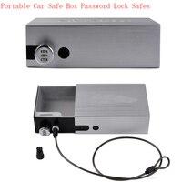 NewPortable Car Safe Box Password Lock Safes Jewelry Cash Pistol Storage Boxes Aluminum Alloy Security Strongbox