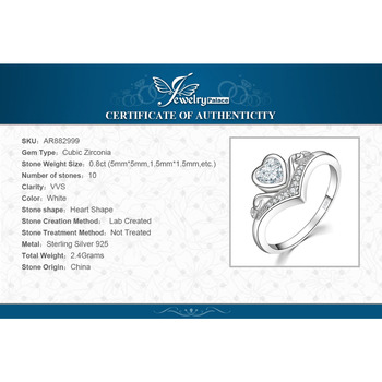JewelryPalace Heart Princess Crown Channel Set  Cubic Zirconia Promise Wedding Engagement Ring 925 Sterling Silver 5