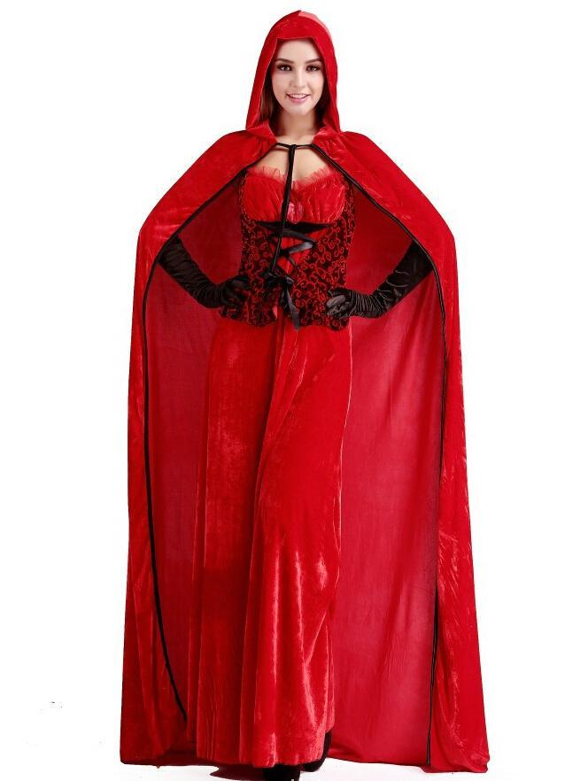 Long section of Little Red Riding Hood cloak bar queen Christmas service Cosplay Costume free Size for Halloween hot sale